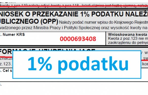 Prosimy o 1% podatku jako Organizacja Pożytku Publicznego